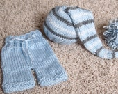 Newborn baby girl or boy hand knitted pants and Elf hat set for Photography Props