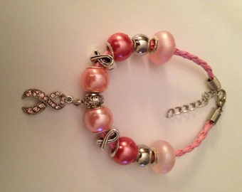 Breast Cancer Awareness Themed Pink Leather Bracelet with Rhinestone Ribbon Charm