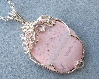 Rhodochrosite Pendant, Silver Wire-Wrapped, Pale Pink, Semi Precious Stone, Handmade, Swirls, Spirals, Natural Stone, Soul Energizing, Gift