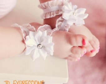 White Barefoot Baby Sandals, Barefoot Sandals, Barefoot Baby Sandals, Bottomless Baby Sandals, Baby Girl Sandals, Barefoot Baby Sandals