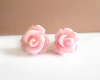 Light Pink Rose Earrings