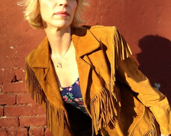 Western 70s Suede Leather Blazer Jacket with Fringe