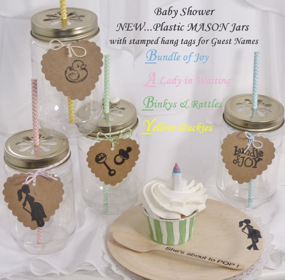 items similar to plastic mason jars baby shower collection with pewter