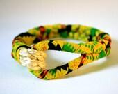 Yellow & Green African Block Print Fabric Wrap Rope Bracelet