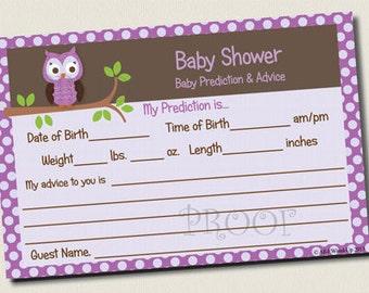 INSTANT DOWNLOAD Purple Owl Baby Shower Advice Prediction Card Neutral U-Print polka dot boy girl neutral