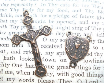 First Communion - Crucifix - Rosary Center - First Communion Small ROSARY SET - Bronze or Sterling SIilver - Made in the USA