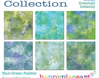 Blue Green Watercolour Digital Papers for Personal & Commercial Use 12x12in for Digital Scrapbooking, Backgrounds