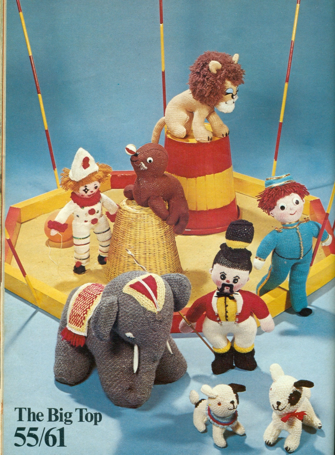 Vintage Knitting PATTERN for Circus soft toys. Clown, Lion ...