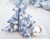 SALE Stuffed Tree - Blue Poinsettias Medium - Winter Tabletop Decoration