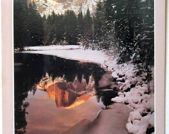 Vintage Poster - Yosemite National Park California - December winter scene mountain forest and lake nature photo - David Muench's America