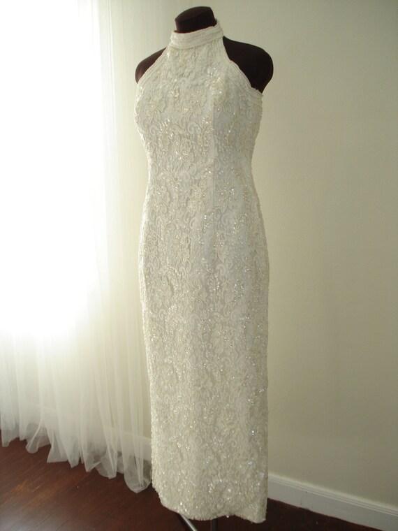 Vintage Beaded Silk Halter  Bridal Wedding Dress
