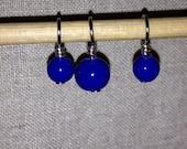 Tiefblaue Glas Perlen Stich Marker für Strickmaschinen