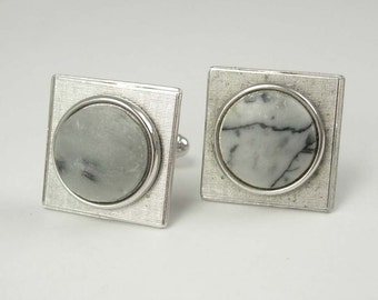 Haunted jewelry Vintage eerie Gray Marble Cufflinks Agate spooky looking abstract wedding accessory groom gift silver jewellery tuxedo