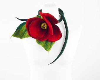 Felted Collar ALICE IN WONDERLAND Collar felt Necklace Flower art jewerly nunofelt Nuno felt collar silk Fiber Art boho