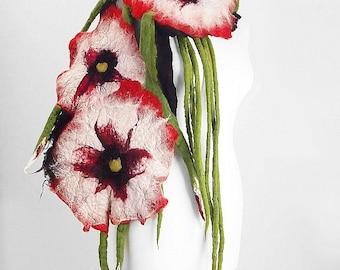Felted Scarf Nunofelt Scarf Flower Scarf ALICE IN WONDERLAND Felt Shawl  Felt Wrap Art Shawl Nuno felt Fiber Art