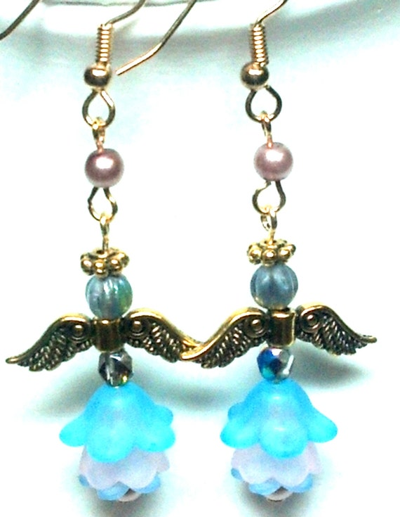 Blue and Pink Flower Angel Earrings, Jewelry, Etsy, Handmade, Handcrafted, Angels, Earrings, Gift for her, Gift idea, Sale,