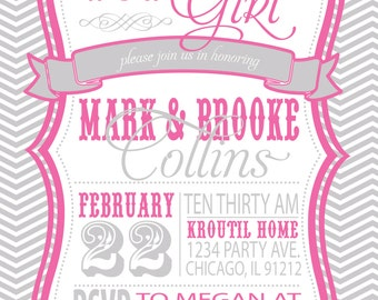 COUPLES BABY SHOWER invitation - pink and grey