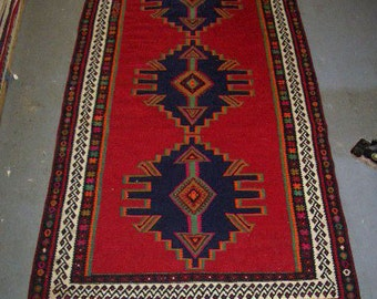 1970s Vintage Flatweave Shiraz Kelim Persian Rug (2545)