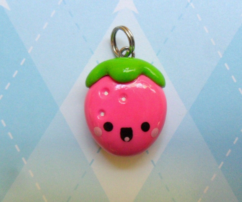 Kawaii Strawberry Charm Polymer Clay Cute Fruit Jewelry