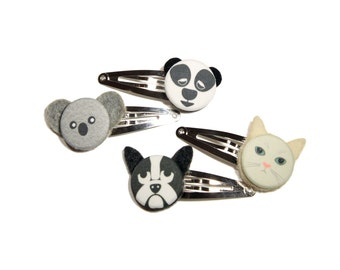 Pair of Animal Hair Clips- Dog, Cat, Koala, Panda