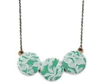 Off White & Bright Green Lace Necklace