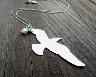 Rhodium Silver Bird Pendant with Freshwater Pearl and Crystal charm handmade Necklace