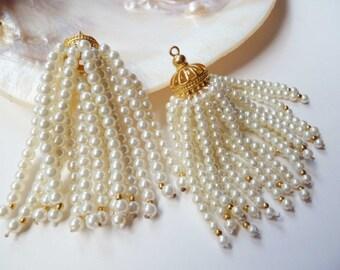 Pearl Beaded Tassels Handmade For Jewelry or Handbags