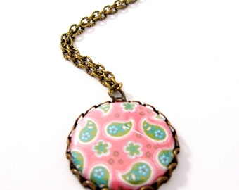 Paisley Button Necklace, Pink & Green Paisley, Antiqued Brass Necklace