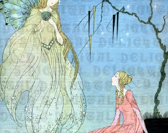 RARE. Princess and Godmother.  Art DECO French Fairy Tale. Vintage Illustration. Digital Download. Virginia Sterrett. From FIRST Edition