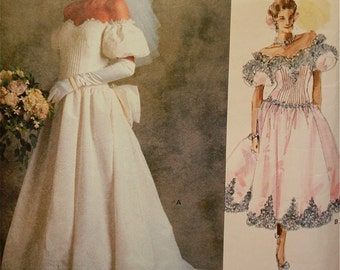 Bridal Gown & Tea Length Dress Vogue Bridal Original Pattern 2179  Uncut     Size 12  Bust 34""