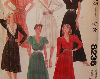 "Dress & Tie Belt - 1980's - McCall's  Pattern 8236  Uncut Sizes 12-14-16  Bust 34-36- 38"""