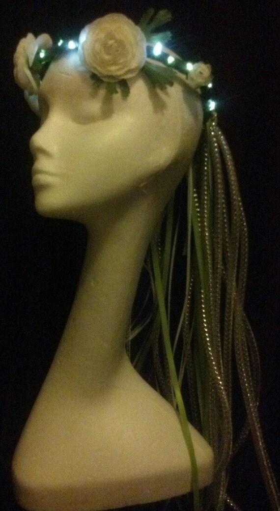 fairy fearey led lights wreath crown with cyberlox white flower rose hair head piece  rave