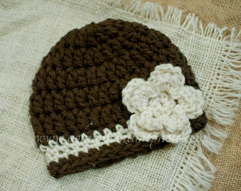 Ready to Ship SALE Beanie 0-3month - Crocheted Baby Girl Hat With Flower Detail