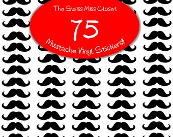 75 2 inch Mustache Stickers Envelope Seals, Party Favors, Party Glasses, Unlimited Possiblities