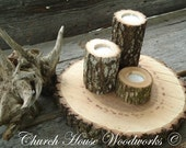 3 Rustic wood candle holders sticks for votive candles, weddings, decoration, decor, natural tree branch, log candle holders