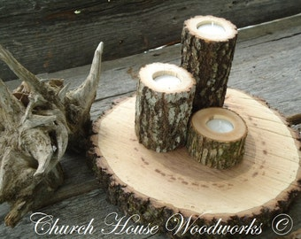 3 tree branch candle holders, rustic wedding candle holder, wood candle holder, natural tree branch, log candle holders