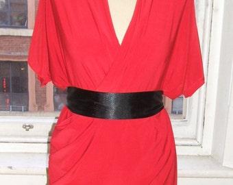 Baylis & Knight  Red  Pleat Wrap Drape GORGEOUS Mini Short Dress Relaxed Flattering Dita Von Teese Burlesque