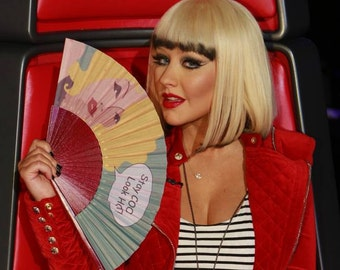 Designer HAND FAN | Christina Aguilera's choice on The Voice | Pop Art | unique gift | gift for her | Free Shipping Worldwide