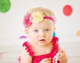 Pink Lemonade  Headband Baby Headband Shabby Chic double Headband baby bow newborn headband toddler headband