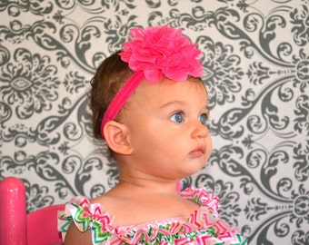 Hot Pink Baby Headband, Girl Headband,  Lace Headband, Baby girl Headband, newborn headband, vintage headband toddler fabric headband