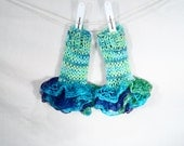 Rainbow Ruffles.......Fingerless Gloves, Aqua blue, hydrangea blue, Ruffle lace, multi color, hand knit, hand made in Vermont