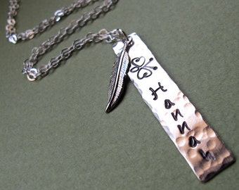 Hand Stamped Name Necklace. Personalized Rectangle Tag pendant with Feather Charm - Customized Necklace - Engraved Necklace, Feather Pendant