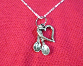 Two Spoons and A Heart Multiple Charm Spoonie Necklace