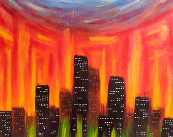 ORIGINAL Acrylic Abstract Painting - City Of Fire - 24x36 FREE SHIPPING Colorful Sky Art