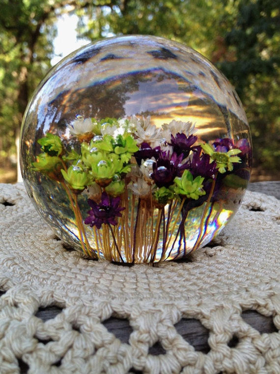 Vintage Clear Paper Weight Colorful Real By Wemixandmatchvintage