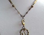 10% off on this item - Steampunk influenced with found objects and mood bead mixed metal necklace