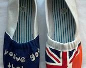 "One Direction ""You've Got That One Thing"" British/Irish Flag Custom Canvas Flats"