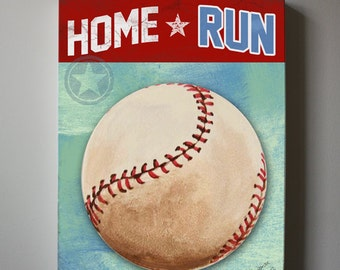 Sports Baseball Canvas Art,  Baseball Wall Hanging, Baby Boys Room Art Print , Home Run Baseball ART
