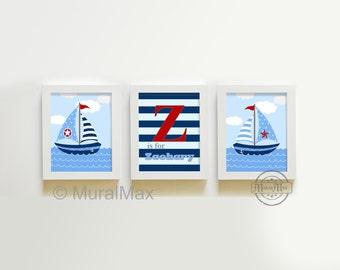 Nautical Nursery Prints, Nautical Baby Nursery Room Decor set -  8 x10  Sailboat prints