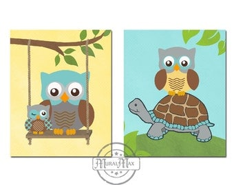 Nursery Owl Prints - wall art - Set of Two Prints Baby Boys Woodland Owl Nursery Art